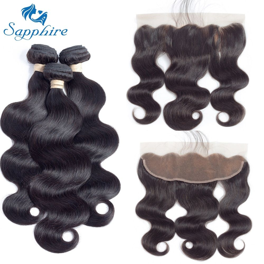 Sapphire Body Wave Remy Human Hair Bundles With Lace Frontal 1B# Color For Hair Salon High Ratio Longest Hair PCT 15% Free Part