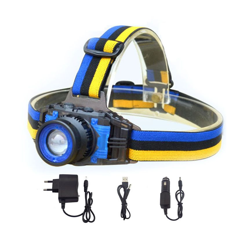 Lampe de poche de phare de LED de la puissance élevée Q5 Rechargeable Zoomable Focus phare de lampe Frontale de torche pour le chargeur de Camping de pêche