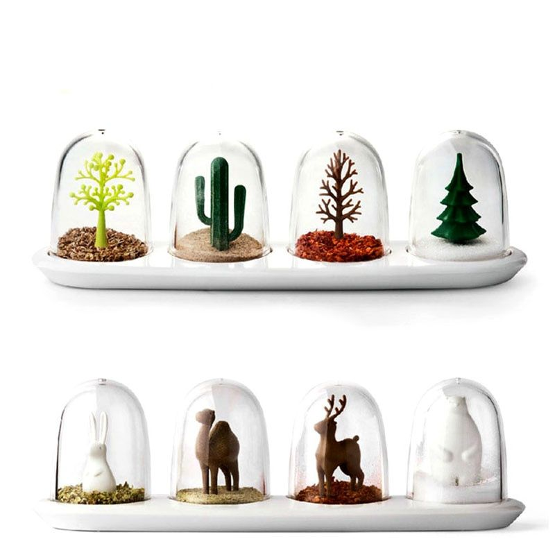 <font><b>Four</b></font> Seasons Plant Spice Jar 4 pcs/set Creative Animals Seasoning Bottle Salt Sugar Pepper Shaker Cooking Tools Kitchen Supplies