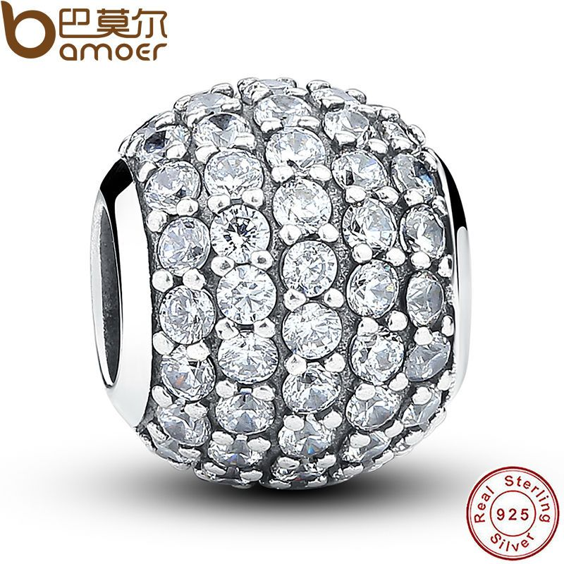 925 Sterling Silver Pave Czech Bead BALL Charm Fit Bracelet With Clear Cubic Zirconia DIY Accessories Jewelry PAS069