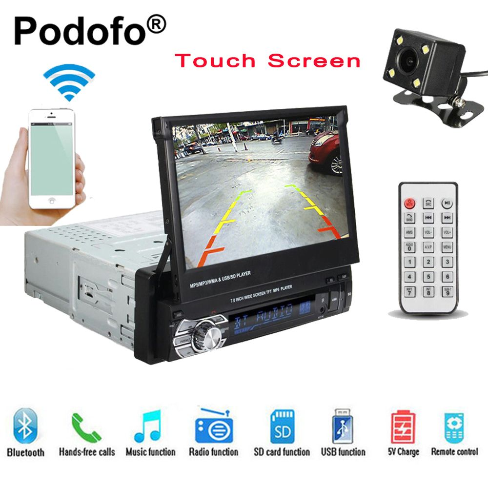 Podofo 1 din 7 Universal Car Radio GPS Navigation Bluetooth Car Video Player Touch Screen MP5 autoradio Audio Rear <font><b>View</b></font> Camera