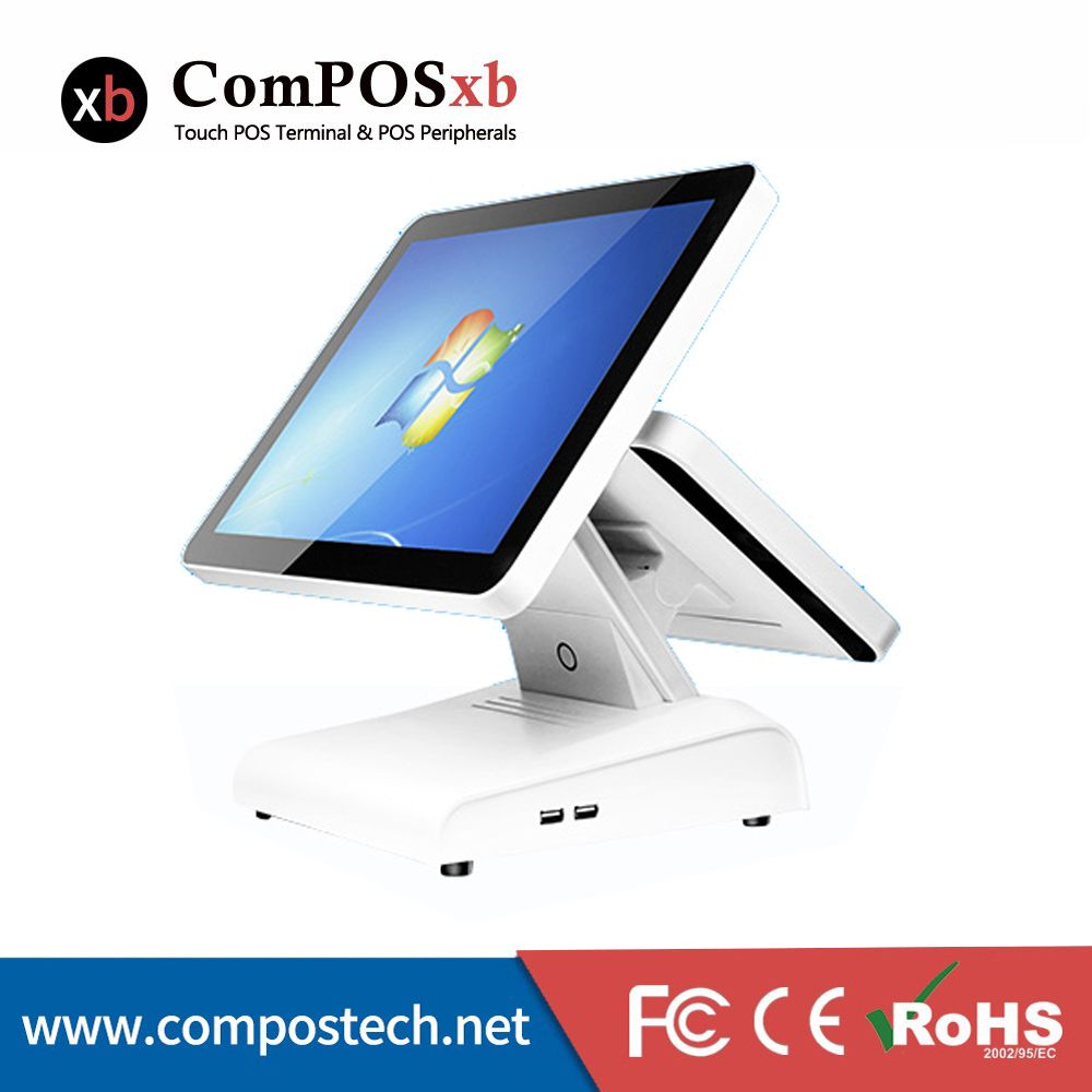 Good Model 15 Inch Touch Screen Point Of Sale All In One POS System With 12 Inch Lc Dispay For Restaurant POS Machine