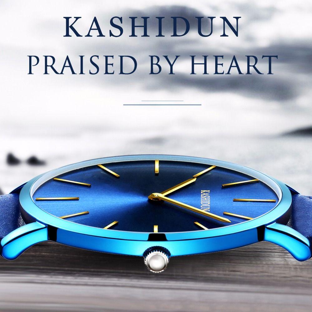 Kashidun reloj hombres 2018 Top marca de lujo famoso reloj hombre reloj de cuarzo reloj Relogio masculino super fino y Delgado dial