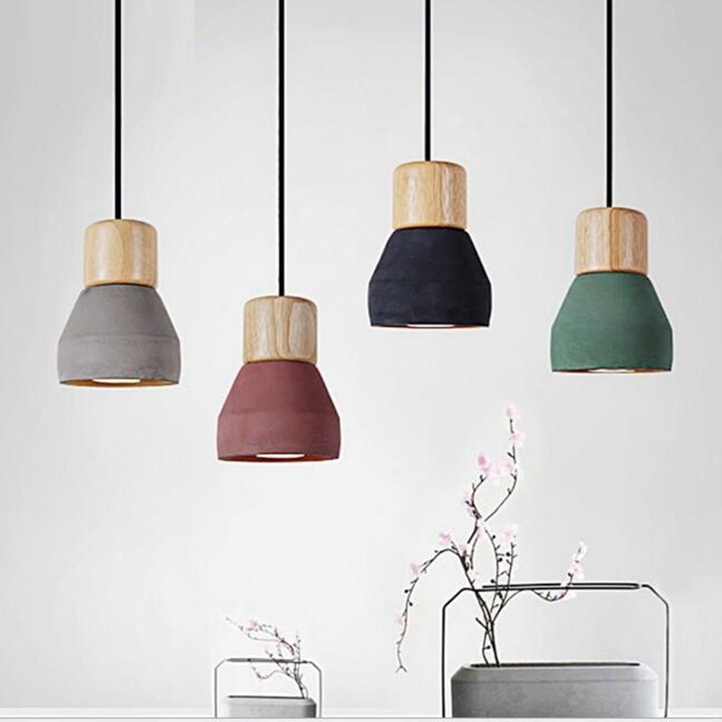 LukLoy Pendant Lights, Modern Fashion Ceiling Pendant Lamp Home Lighting Fixture, Wood Cement Lampshade for Kitchen Dining Room