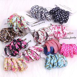 6 Pcs/Pack Coton Imprimé Fleurs Cheveux Cordes Léopard Haute Élastique Cheveux bandes Cheveux Élégance Gomme Pour Femmes Filles Cheveux Accessoires