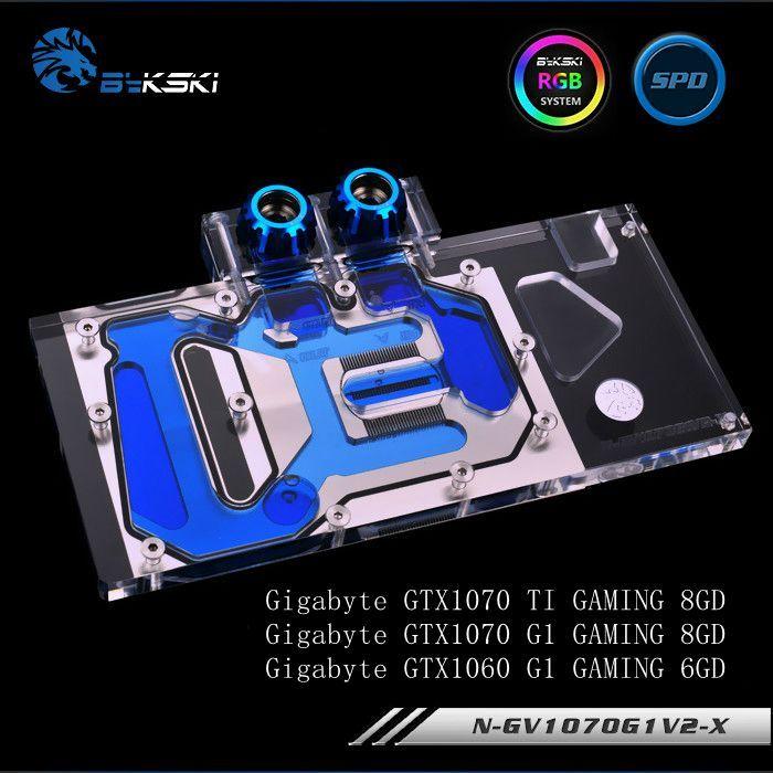 Bykski N-GV1070G1V2-X Full Cover Grafikkarte Wasserkühlung Block für Gigabyte GAMING GTX1070TI 1070 1060 G1
