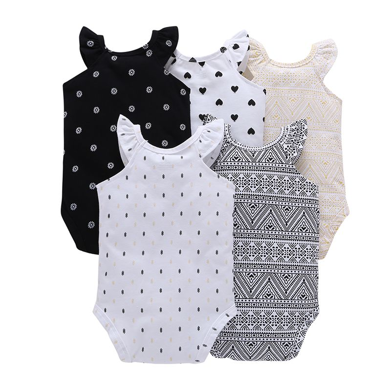 CHUYA Summer Bodysuits 5 Pcs Baby Girl Clothes Short Sleeve Cotton Printed Bodysuits Baby Jumpsuit Baby Boy Clothes MKBCROBG033