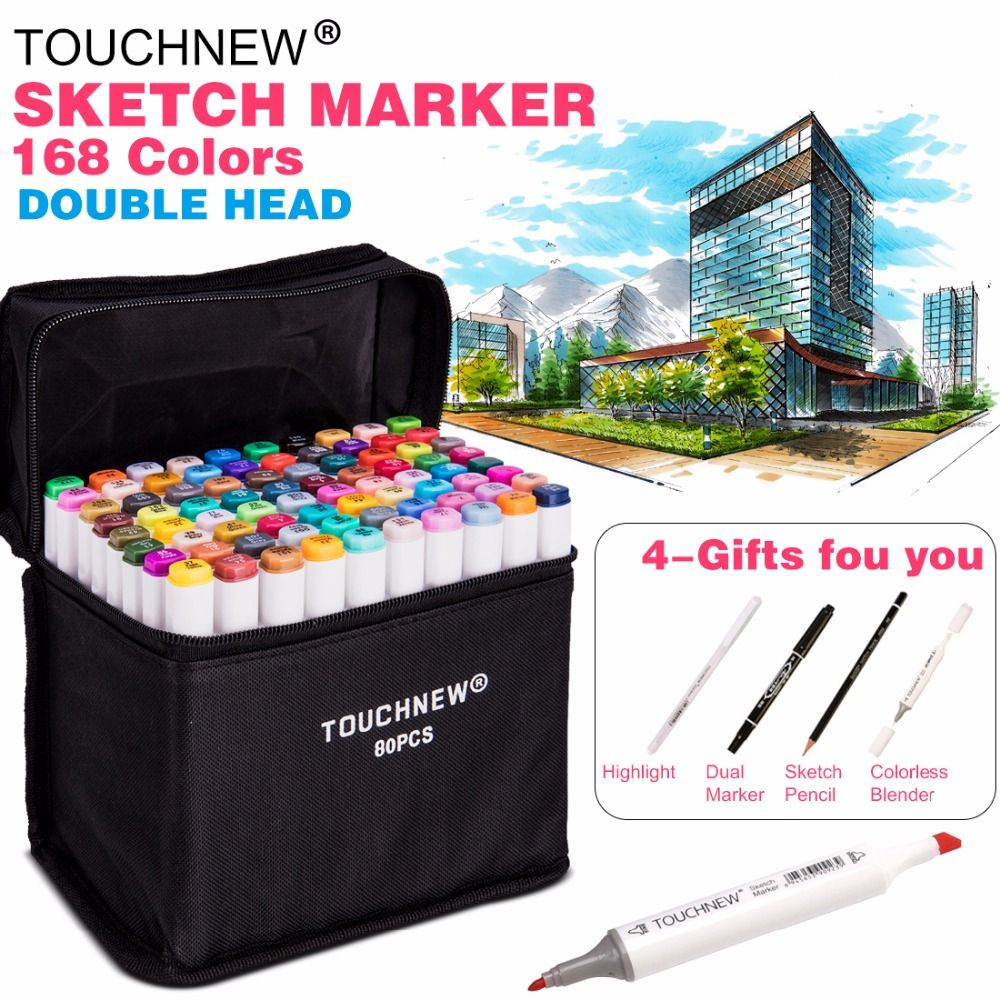 TOUCHNEW 30/40/60/80Color <font><b>Dual</b></font> Head Art Marker Set Alcohol Sketch Markers Pen for Artist Drawing Manga Design Art Supplier