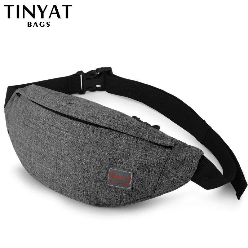 TINYAT homme taille sac Pack décontracté fonctionnel argent téléphone ceinture sac T201 gris noir femmes sac pour ceinture toile hanche sac Fanny
