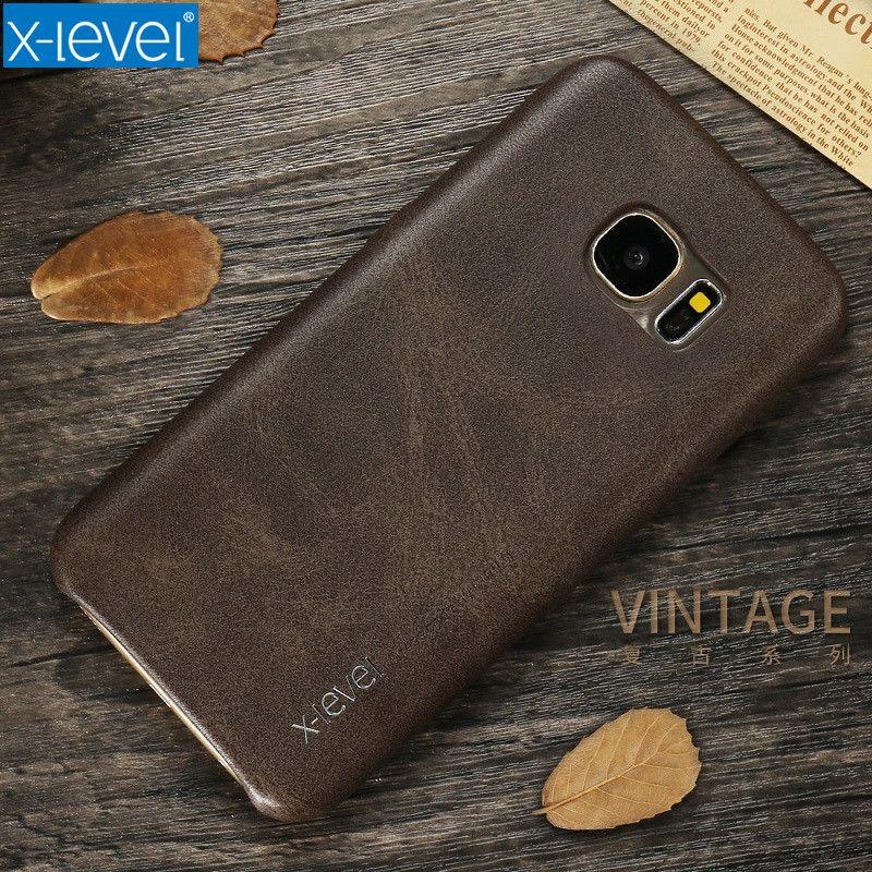 X-Niveau Étui En Cuir Pour Samsung Galaxy S7 S8 D'origine PU Ultra Mince Plein De Protection Couverture Arrière Cas Pour samsung S7 Bord S8 PLUS