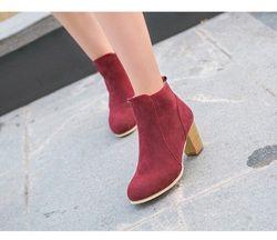Hot Otoño Invierno Mujeres Botas zapatos de Las Señoras Martin botas botines de Cuero de Gamuza Europea Sólida con espesos matorrales tamaño 35-39