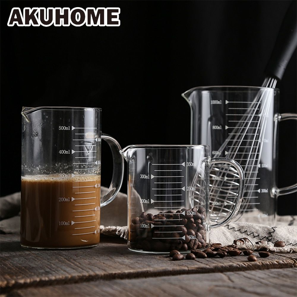 Glass Measuring Cup With Scale High Temperature Microwave Oven Home Kitchen Baking Tools Transparent Measuring Cup AKUHOME