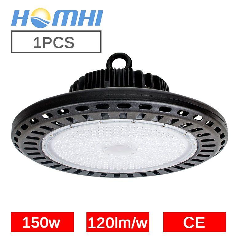 LED high bay UFO light 150w black circular lamp yellow light white warehouse supermarket stock 110v 220v Overhead luminaire