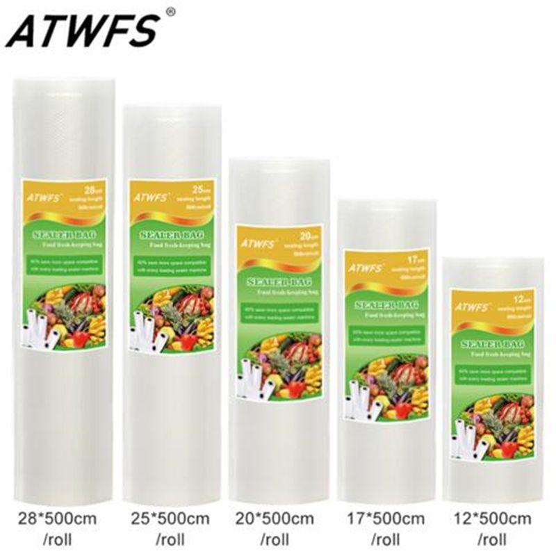 Qualité alimentaire Sac De L'aspirateur Rouleaux Groupe pour Scellant À Vide Des Ménages Taille: 12 + 17 + 20 + 25 + 28 cm * 500 cm/Rouleau/Lot Vide Sacs avec RoHS/FDA