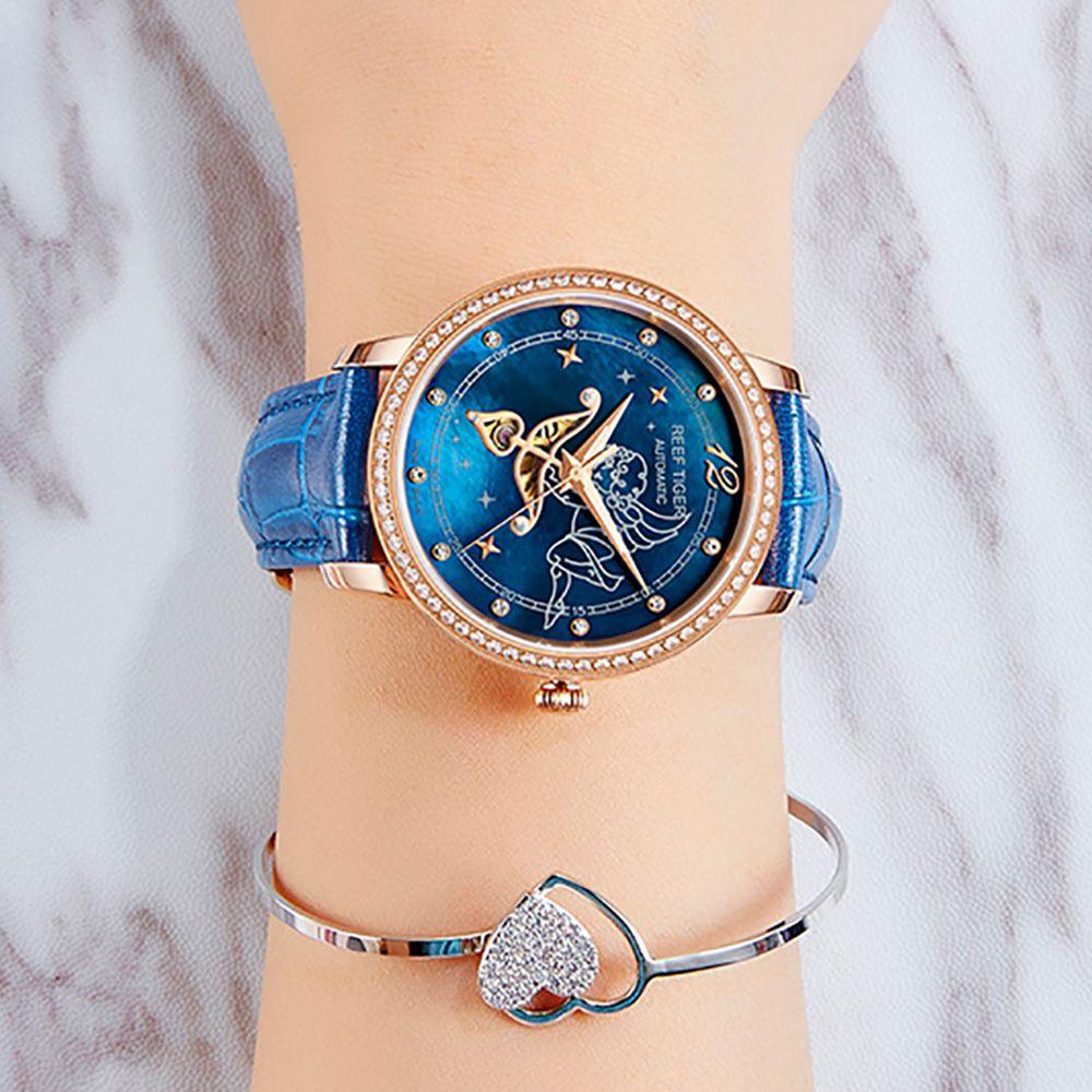 Neue Riff Tiger/RT Mode Frauen Uhren Blau Zifferblatt Rose Gold Uhren für Liebhaber Diamanten Damen Uhren Relogio Feminino RGA1550