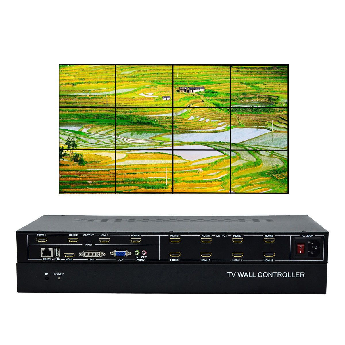 ESZYM 12 Channel TV Video Wall Controller 3x4 2x6 2x5 HDMI DVI VGA USB Video Processor