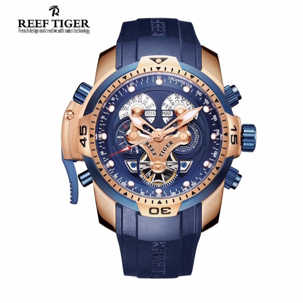 Reef Tiger/RT Mens Sports Watch with Year Month Week Day Calendar Steel Complicated Blue Dial Automatic Watches RGA3503