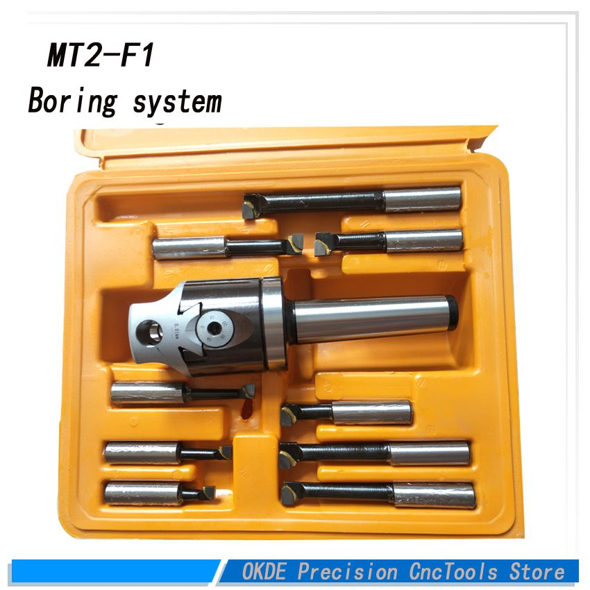 High precisionMT2- F1 Type Rough Boring Head with MT2 Shanks inch size boring system with 9pcs bar 50mm borign head