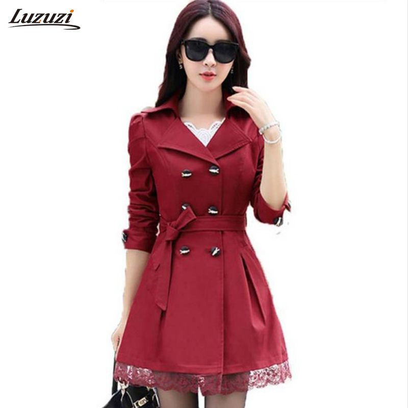 1PC Trench Coat For Women Spring Coat Double Breasted Lace Casaco <font><b>Feminino</b></font> Autumn Outerwear Abrigos Mujer Z015
