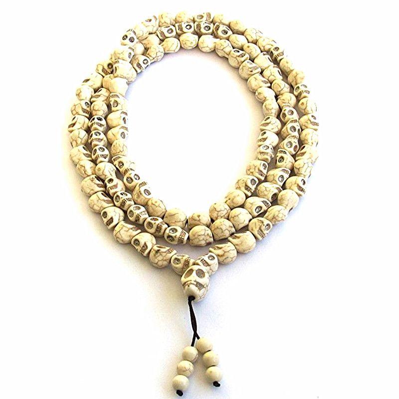 8mm Blanc perles de pierre 108 Crâne Perles de Prière Bouddhiste Tibétaine Chapelet Méditation Mala pour femmes hommes bijoux
