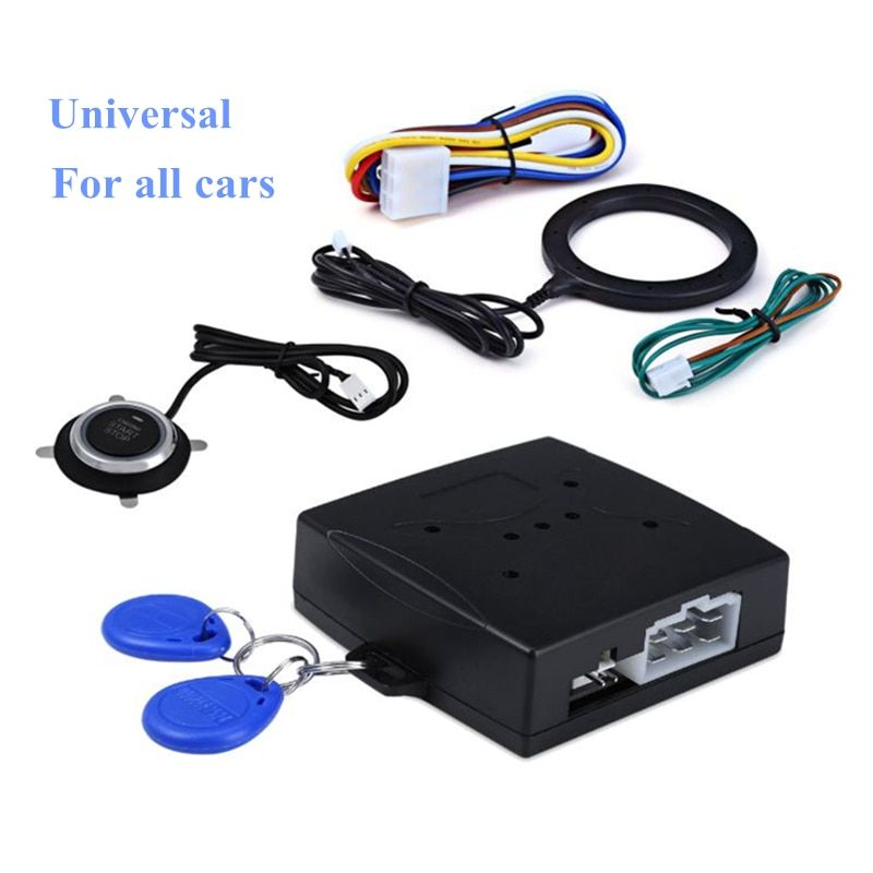 Car start stop button Engine Push Start Button Alarm RFID lock Keyless System door poussoir drukknop tactile buttons car-styling