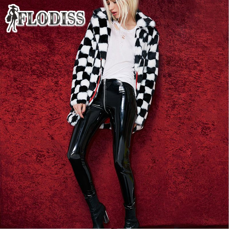 FLODISS Good Quality Bright PU Leather Tight Trousers 2018 Winter Women Fashion Zip Design Black/Red High Waist Pencil Pants