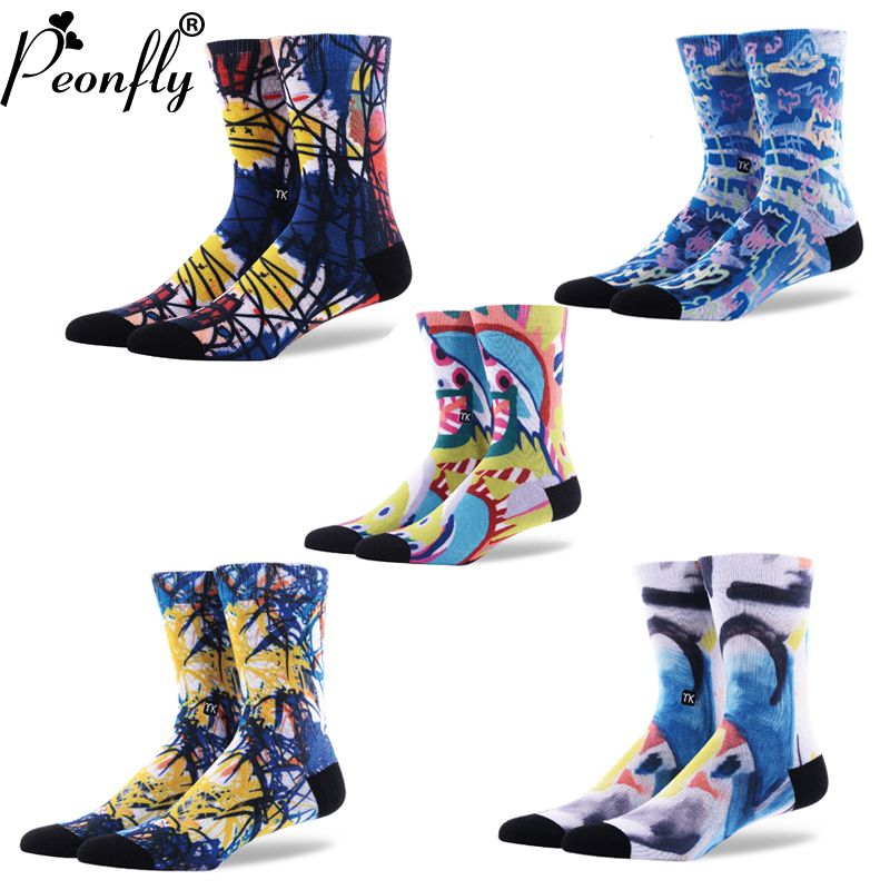 2017 NUEVA creativo happy socks hombres moda graffiti art brotación calcetines calcetines calcetines de impresión en color