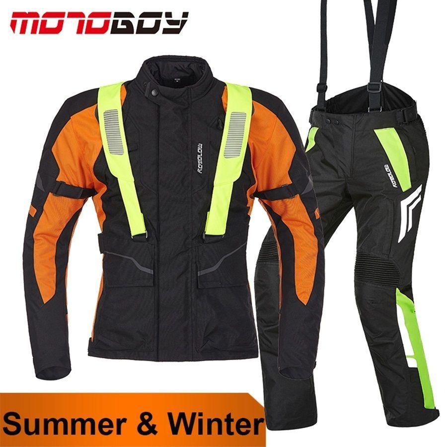 Freies verschiffen 1 Satz MOTOBOY Vier Jahreszeiten Mens Wasserdicht Warm Motorrad Off-road Motorrad Jacke und Hose Mit 9 stücke pads