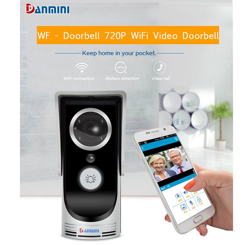 DANMINI Wireless Doorbell HD 720P WIFI Video Doorbell  Night Vision Two-way Audio Door Video Intercom Camera Home Use