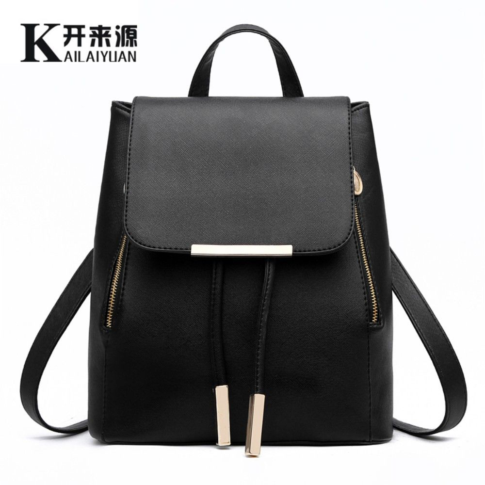 KLY 100% Genuine leather Women backpack 2018 New Fashionista fashion leisure Korean Student Backpack Women Bags Preppy Style bag