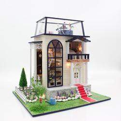 Hadiah Merek Baru Diy Rumah Boneka Kayu Rumah Boneka Unisex Rumah Boneka Mainan Anak Furniture Miniatur Kerajinan Pangeran Kecil 13837