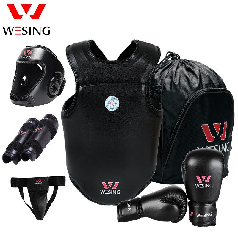 Wesing Sanda Protective Gears 6 pcs Set for Professional Athletes Sports Equipment Boxing Gloves Head Shin Groin Chest Guard PU
