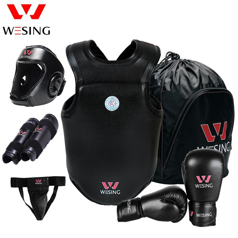Wesing Sanda Schutz Gears 6 stücke für Professionelle Athleten Sportgeräte Boxhandschuhe Kopf Shin Tiefschutz Brustschutz PU