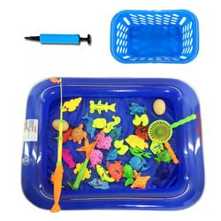 35 Pcs Kolam Tiup Mainan Memancing Magnetik Set Beach Pool Musim Panas Luar Mainan Anak Memancing Mainan Anak Hadiah