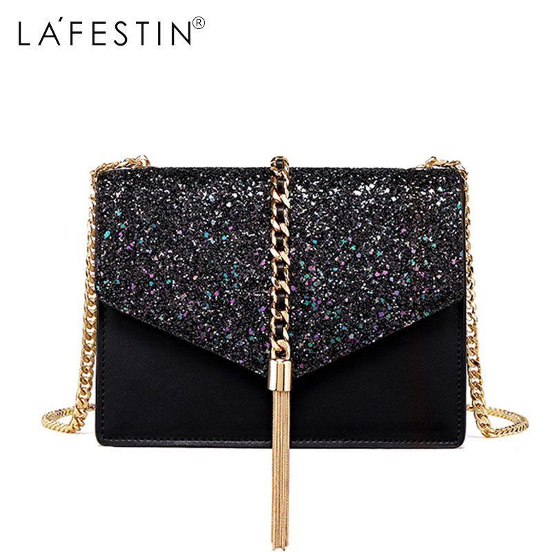 LAFESTIN Brand Bag Women Shoulder Bag Fashion Fringe Tassel Crossbody Bag Metal Chain Famous Designe Luxury Bags bolsa feminina