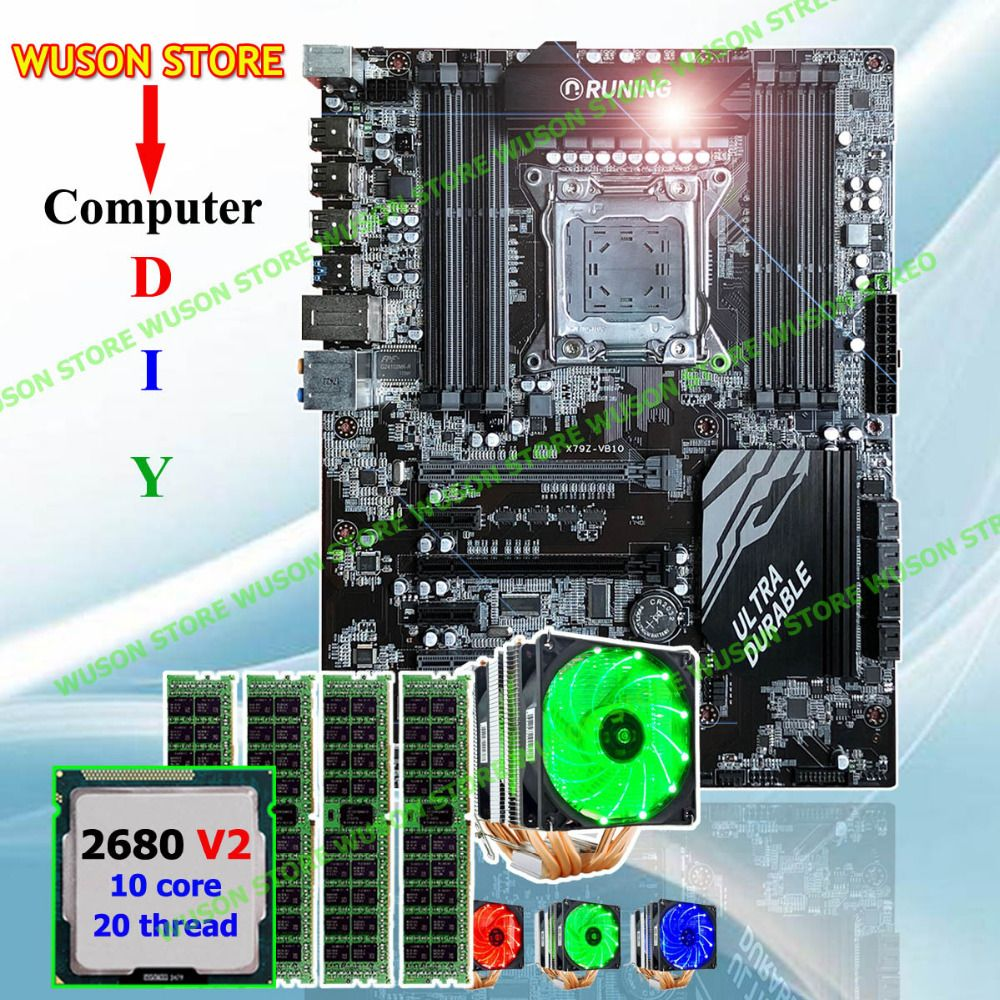 Runing Super ATX X79 motherboard CPU RAM combos processor Xeon E5 2680 V2 with GOOD cooler memory 32G(4*8G) 1600MHz DDR3 REG ECC