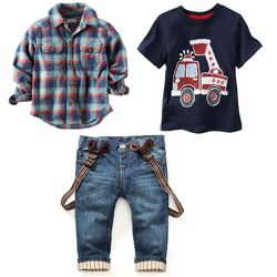 2019 sets of clothes for spring suit boy's long sleeve plaid shirt + jeans + Vehicle Printing 3 pcs set  BCS203