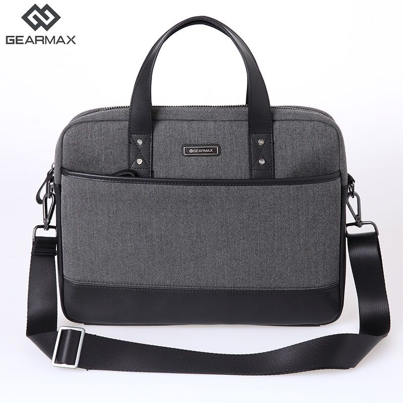 Gearmax Big Capacity Notebook Bag 15.6 Genuine Leather Wool Felt Computer Notebook Bag 15.6 Black Gray 14 15 Leather Messengers