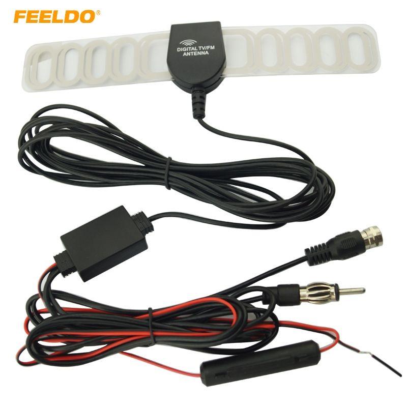 FEELDO Car TV Digital DVB-T 2in1 FM/Radio Antenna Amp Booster F connector #FD-897