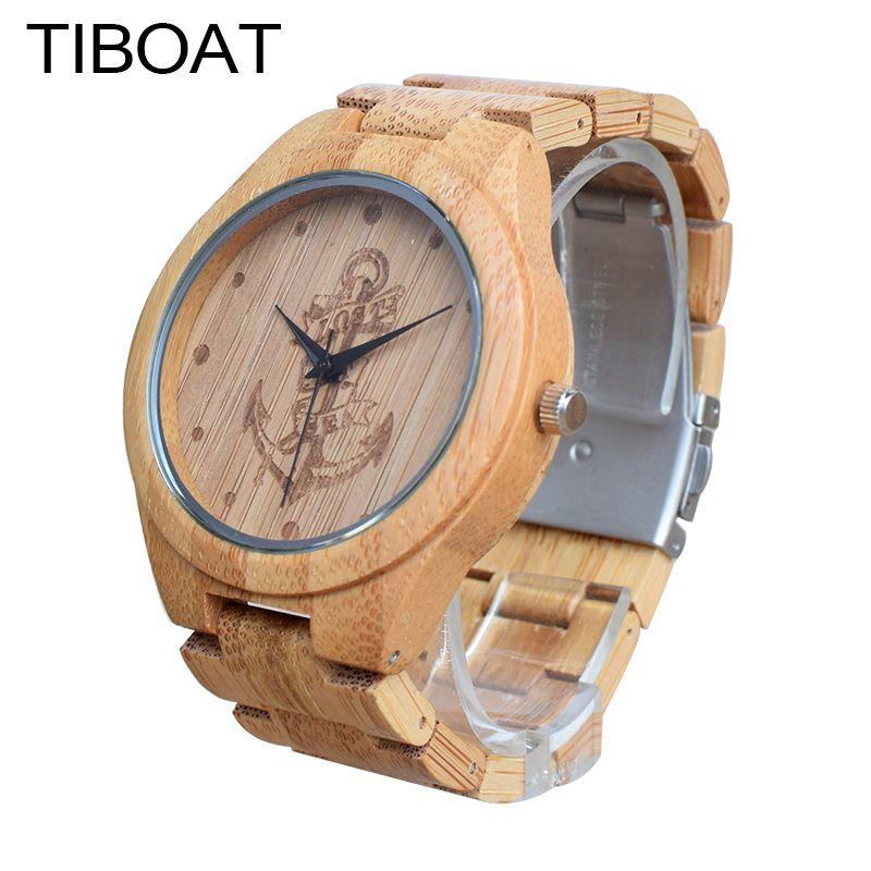 Tiboat ПОЛНЫЙ Бамбук Дерево Часы Lost море Крепления Bamboo часы деревянные Наручные часы Для мужчин Роскошные часы Relogio Masculino де Luxo
