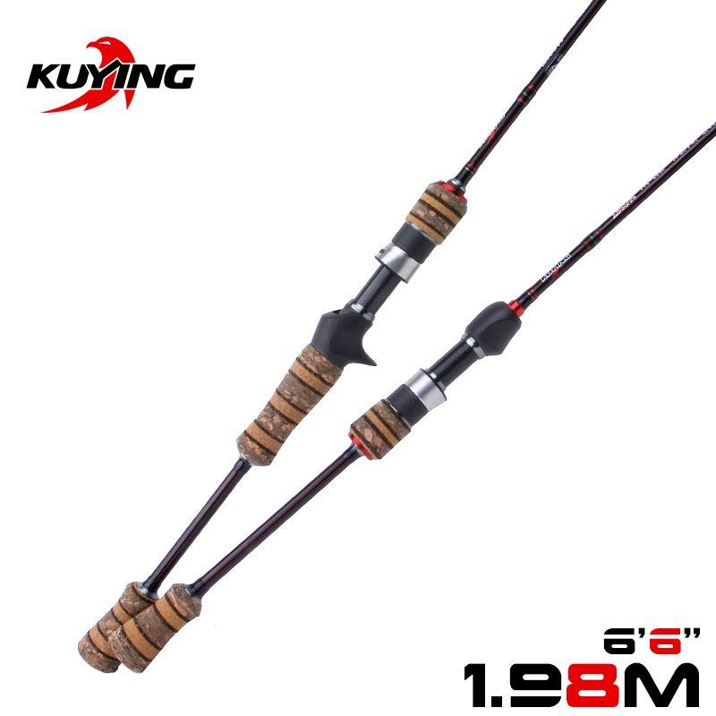 KUYING Teton L 1.98m 6'6 ''Baitcasting coulée filature leurre canne à pêche canne souple canne bâton léger en Fiber de carbone Action rapide moyenne 2-10g leurres pour truite