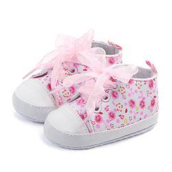 Marque Nouveau Bébé Chaussures Prewalker Impression Dentelle Filles Tout-petits mocassins bebes infantis sapatos Premiers Marcheurs Nouveau-Né