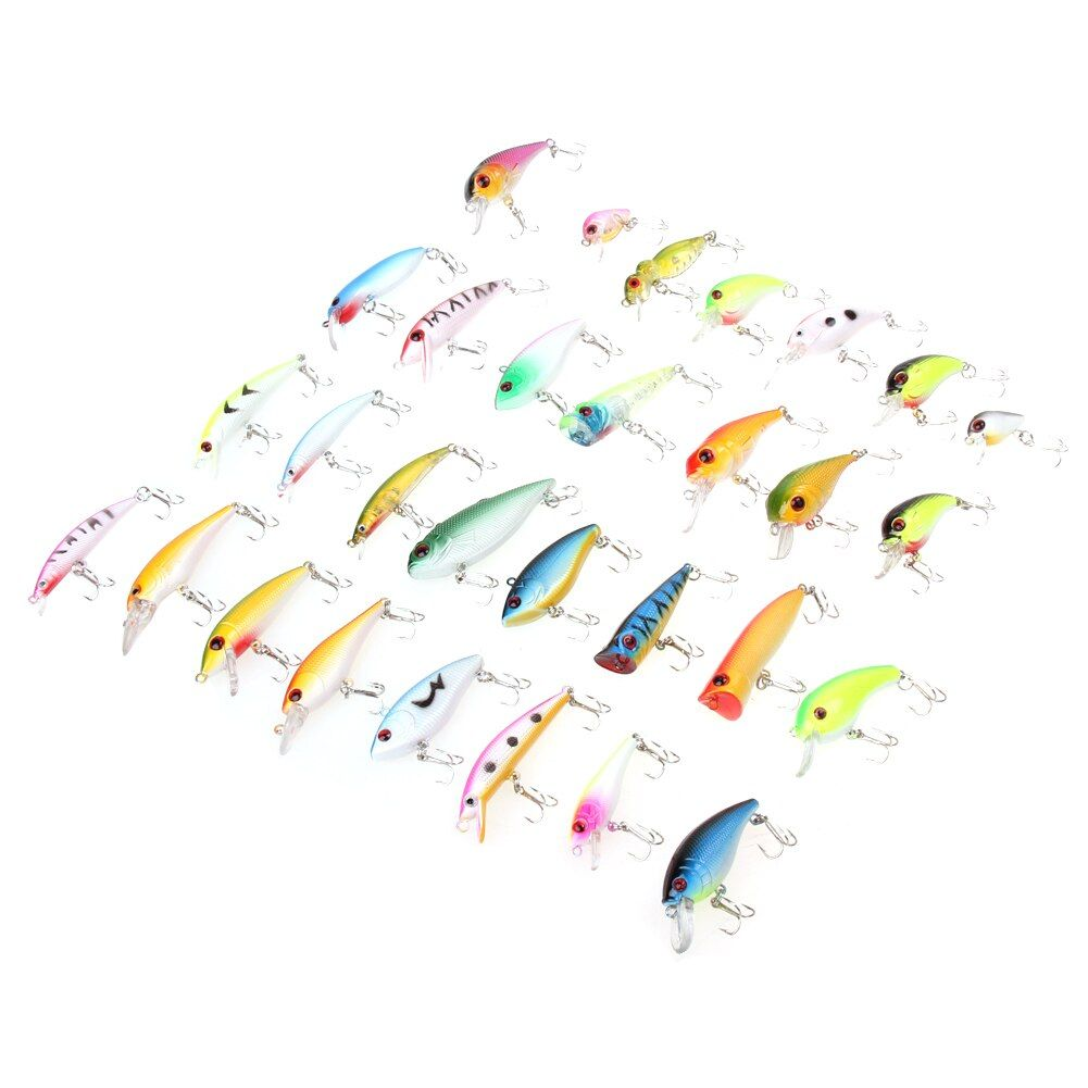 Fishing Lure 30pcs/lot Fishing Bait Tackle Minnow Artificial Bait Lures/Popper Lur PVC Stainless Steel Fishing Accessories