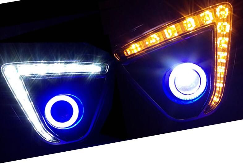 LED DRL daytime running light + COB angel eye + projector lens + halo fog lamp + yellow turn signal for Mazda cx-5 2012-2016