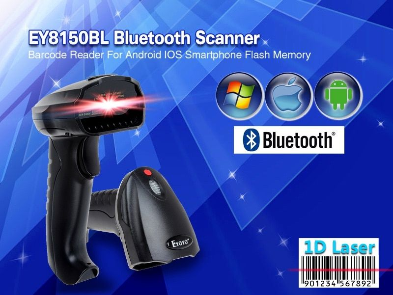 EY8150BL Wireless Bluetooth 1D Barcode Scanner Mini Barcode Reader for iOS, Android Windows System Bar Scanner