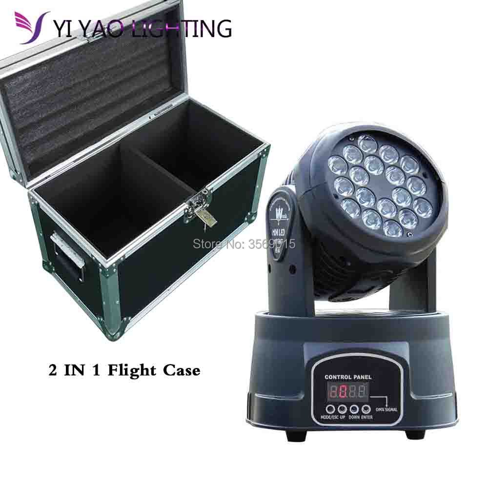 Flight Case 2pcs/lot LED Beam 18x3W RGB Moving Head For Event Disco Party Stage Lighting