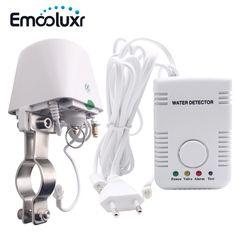 Air Kebocoran air Alarm Sensor Detector Alarm Keamanan Rumah Pintar Sistem w Manipulator DN15 Katup & Sensitif Air Probe Sensor