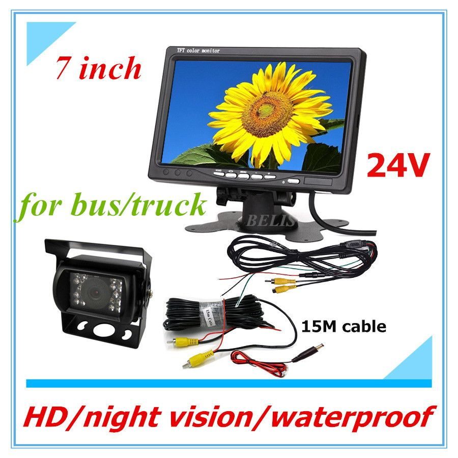 12-24v Truck Bus Lorry Car Rear View Reversing IR Nightvision Waterproof Car Rear View Camera For Bus with LCD HD 7 inch monitor