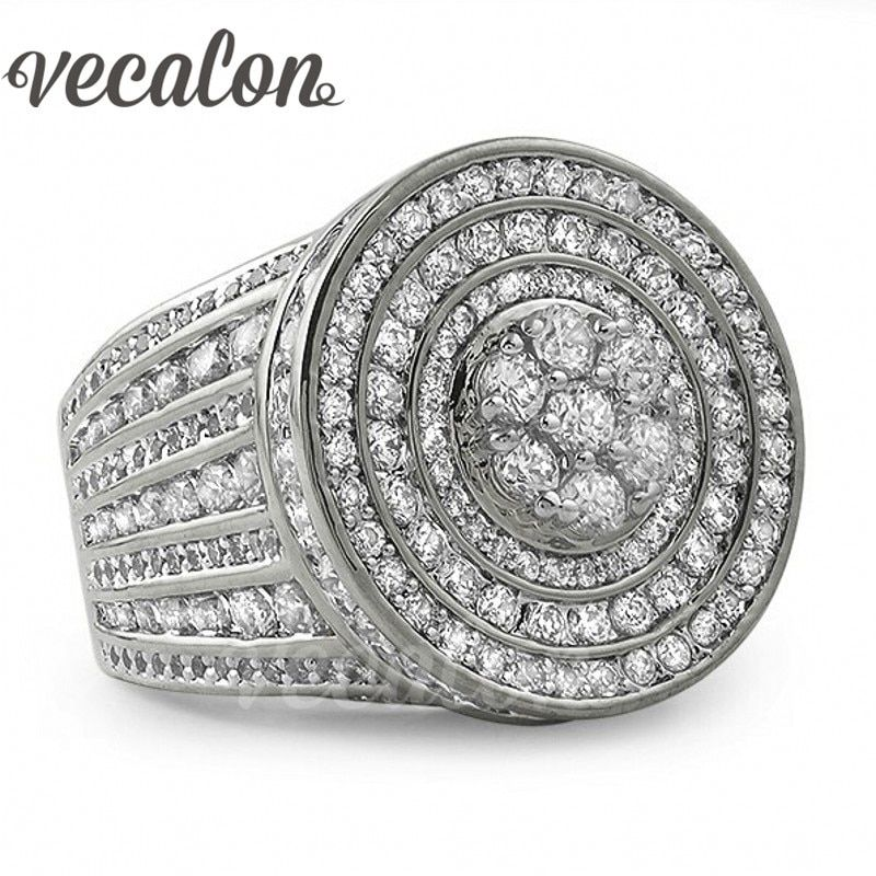 Vecalon Channel setting Women Men ring 240pcs AAAAA Zircon Cz 925 Sterling Silver Couple Engagement Wedding band Ring Gift