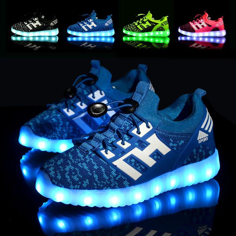 7 цветов мода дети кроссовки детские usb зарядки световой освещенные кроссовки мальчика/девушки красочные светодиодные детей shoes